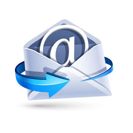 Öffnen Sie E-Mail-Brief mit blauen Pfeil isoliert auf weiß. Vektor-Illustration