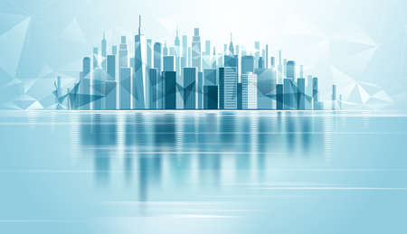 Urban Landscape City with reflection and low poly background. Vector illustration 일러스트