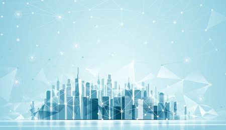 Paesaggio Urbano Città con la riflessione e bassa sfondo poli. illustrazione vettoriale Rete globale