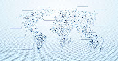 contours: World map abstract geometric shapes, low poly graphic. illustration Illustration