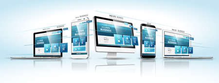responsive web design: Modern devices with web design template. Vector illustration