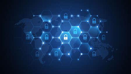 Internet security wereldwijd netwerk achtergrond. illustratie