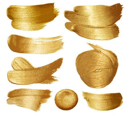 Gold paint set on white background. illustration