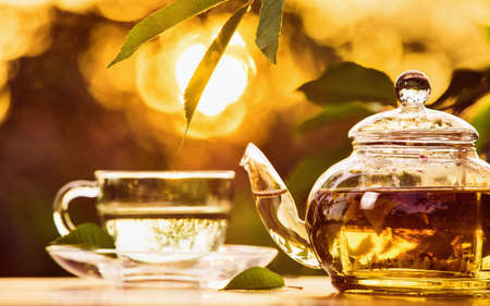 glass cup: Teatime on sunset background. Health drink black herbal tea in a glass cup Stock Photo