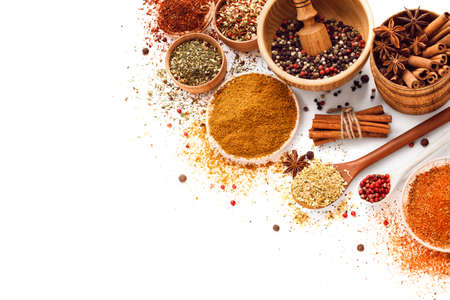 ingredient: Spices isolated on white. Herbs. Curry, Carnation, turmeric cinnamon and other spices