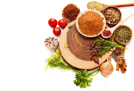 aromas: Spices isolated on white. Herbs. Curry, Carnation, turmeric cinnamon and other spices