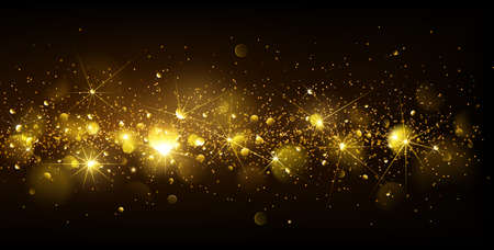 Christmas Gold Background with bokeh effect. Vector illustration Stock Illustratie