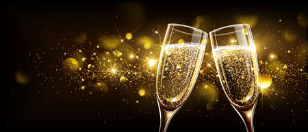 Glasses of champagne on bright background with bokeh effect. Vector illustration Çizim