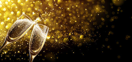 Glasses of champagne on bright background with bokeh effect. Vector illustration Vectores