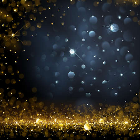 golden star: Christmas Background with bokeh effect. Vector illustration