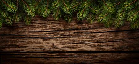 Weihnachten Holzuntergrund mit Tannenzweigen. Vektor-Illustration