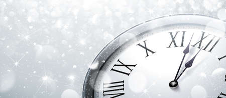 the end of the year: Twelve oClock on New Years Eve in colored silver. Vector illustration Illustration