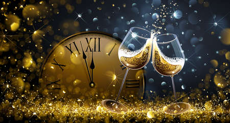 Twelve oClock on New Years Eve with champagne and bokeh effects. Vector illustration Иллюстрация