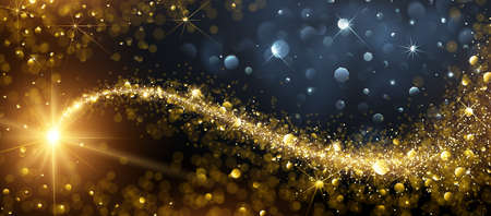 Christmas background with gold magic star with bokeh effects. Vector illustration Ilustracja