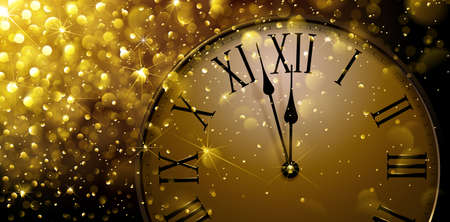 Twelve oClock on New Years Eve in colored gold. Vector illustration