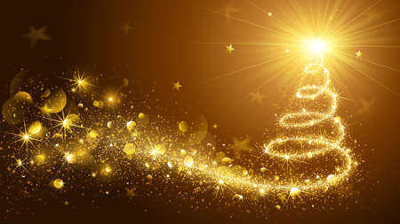 christmas tree illustration: Greeting Card Christmas Tree Gold. Vector Illustration