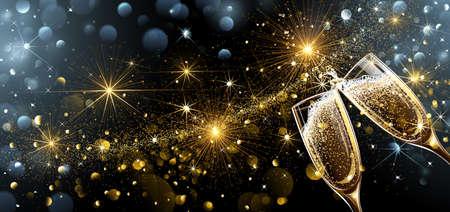 Silvester Feuerwerk und Champagner-Gläser. Vector Lizenzfreie Bilder - 64347771