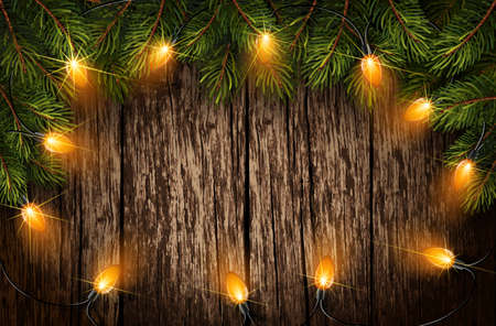 christmas light with fir branches on old wooden texture vector illustration stock vector 64347774