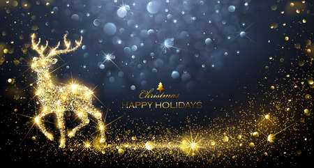 Christmas card with silhouette Magic Deer and flickering lights. Vector illustration Stock Photo
