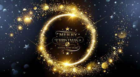 Sfondo Natale con la magia stelle d'oro. illustrazione di vettore Archivio Fotografico - 63826537