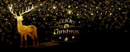 Weihnachten Illustration mit Silhouette Gold Hirsch Low-Poly und flackernden Lichtern. Vektor Standard-Bild - 63826538