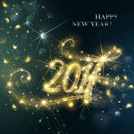 works: New Year fireworks and confetti 2017. Vector illustration. Illustration