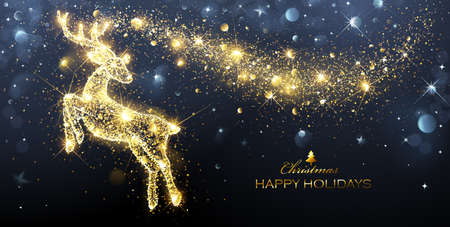 Christmas card with silhouette Magic Deer and flickering lights. Vector illustration