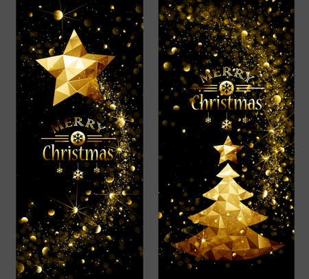 christmas card with low poly gold star and trees flickering lights vector illustration stock vector