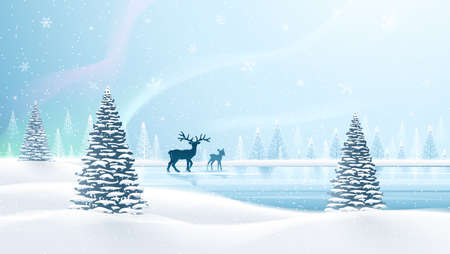 northern: Christmas card with reindeer and northern lights. Vector illustration Illustration