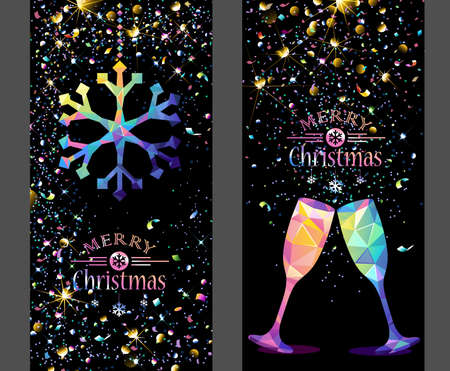 flickering: Christmas card with low poly color snowflake and champagne flickering lights. Vector illustration Illustration