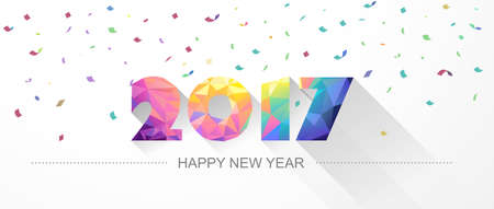 low: Happy new year 2017. Low poly design. Vector illustration