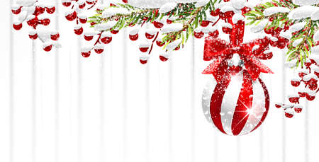 Snowy Christmas background with Fir Branches and Red Ball. Vector illustration