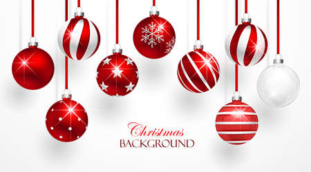 Red Christmas Balls with Shadows on white background. Vector illustration