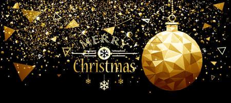 Kerstmis en Nieuwjaar ontwerp met Gouden Bal en Sterren. Vector Low Poly illustratie