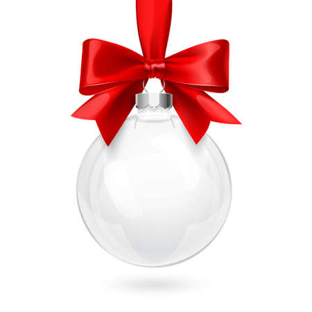 red ribbon bow: Christmas Glass Ball with Red Bow and Ribbon on white background. Vector illustration