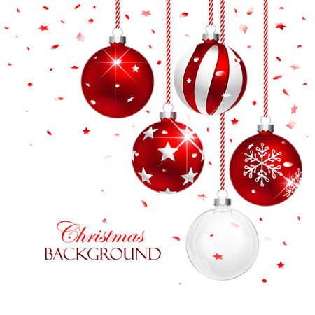 shiny background: Red Christmas Balls with Confetti on white background. Vector illustration