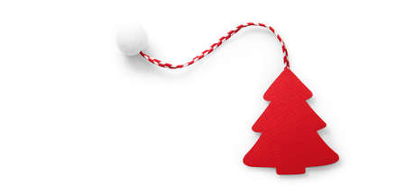christmas symbol: Christmas tree red color with shadow. Holiday symbol Stock Photo