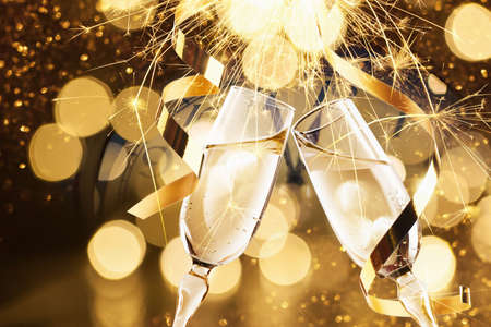 New Year's Eve celebration background with champagne Stock Photo - 66131803