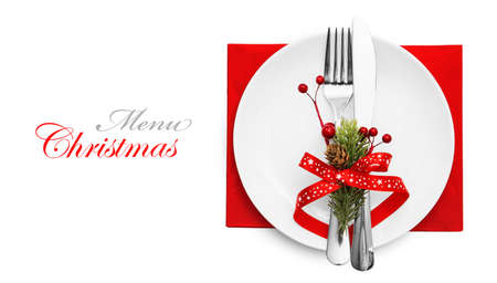 background settings: Christmas menu concept with red bow and fir branches isolated