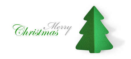 holiday symbol: Christmas tree green color with shadow. Holiday symbol