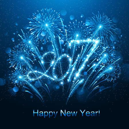 Fuochi d'artificio di nuovo anno e coriandoli 2017. Illustrazione vettoriale Vettoriali