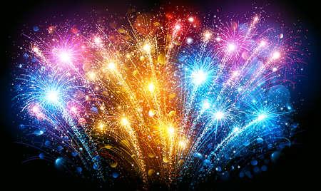 Festive Colorful fireworks on black background. Vector illustration