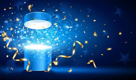 Öffnen Sie Geschenk mit goldenen Bändern und Konfetti. Vektor-Illustration