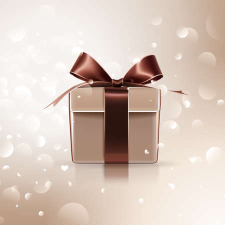 brown box: Gift with brown bow