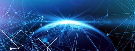 グローバル ネットワークの背景。ベクトル