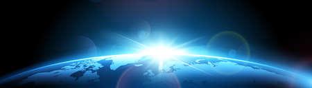 Planeta tierra con sol Foto de archivo - 73563363