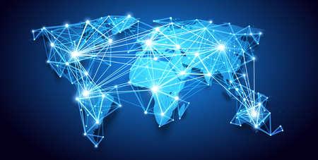 World map. Global Network. Vector Illustration