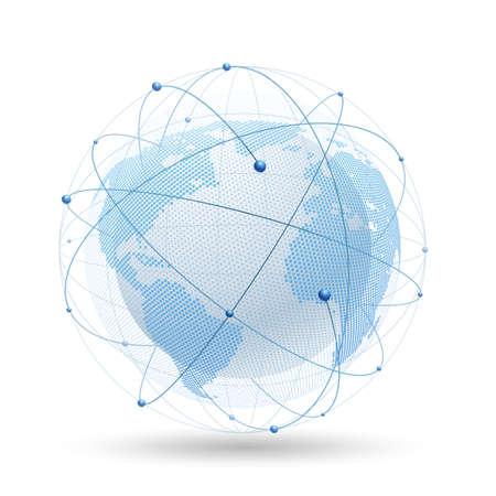 Modern globe network. Vector