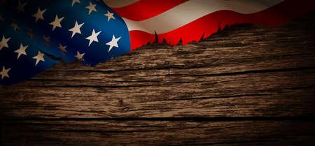 wooden: Old American flag on wooden background Illustration