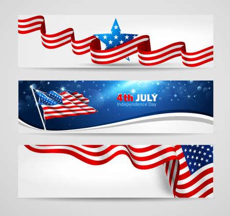 Sammlung von Bannern für Independence Day USA. Vektor-Illustration Illustration